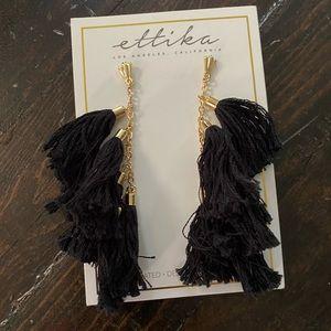Ettika Black & Gold Tassel Earrings